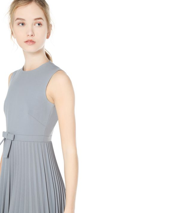 REDValentino Bow Detail Cady Tech Pleated Dress
