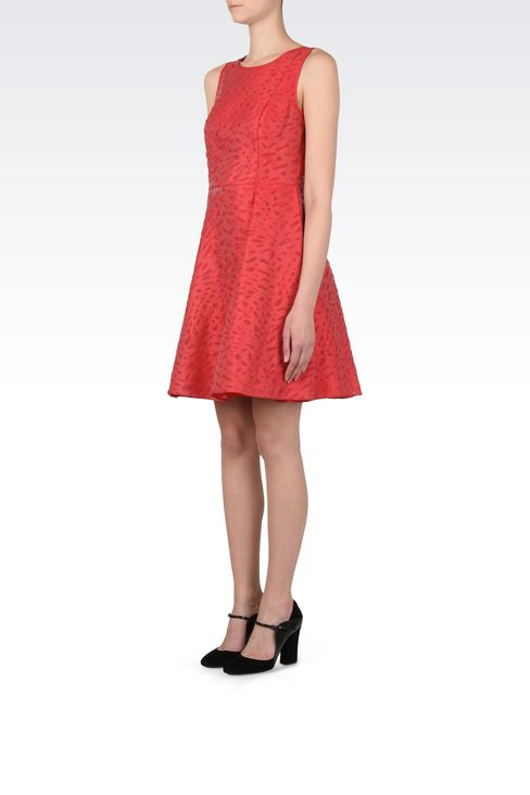 Jacquard dress with duchesse inserts : Short Dresses Women by Armani - 3