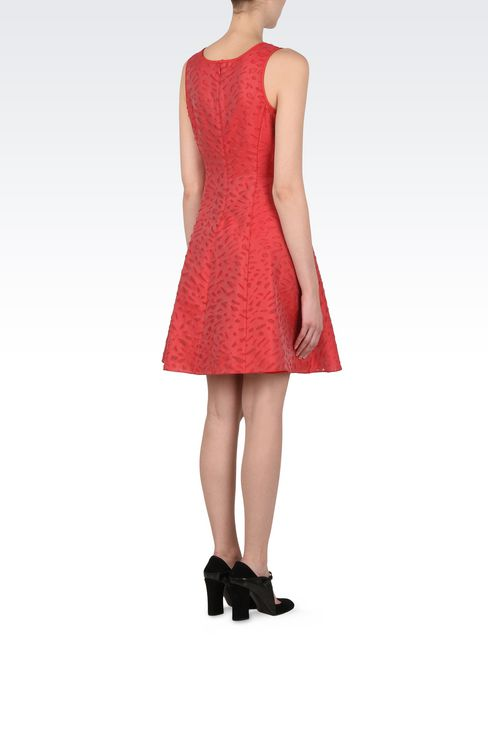 Jacquard dress with duchesse inserts : Short Dresses Women by Armani - 4