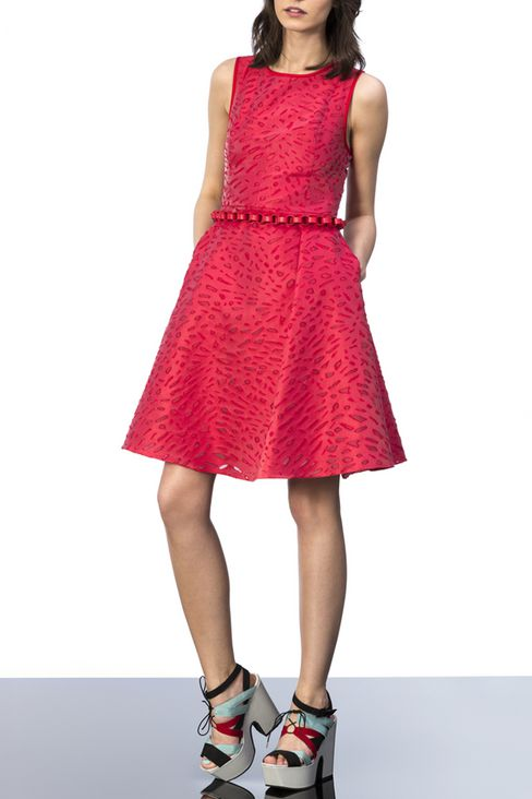 Jacquard dress with duchesse inserts : Short Dresses Women by Armani - 2