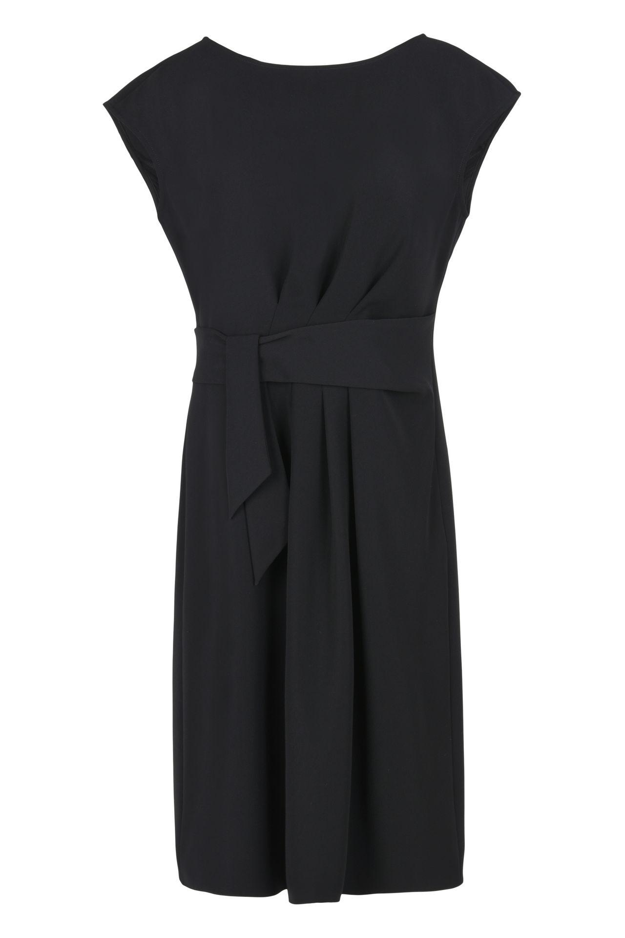armani collezioni georgette dress with fabric belt