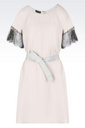 Armani Dresses Women silk blend sablé dress with lace inserts