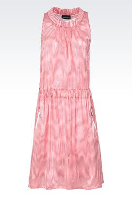 Armani Dresses Women striped jersey crew neck dress