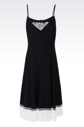 Armani Short Dresses Women silk dress with lace details