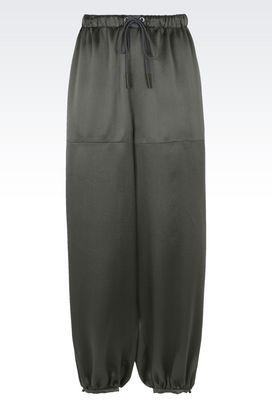 Armani Pantaloni Donna pantaloni ampi in pura seta con coulisse