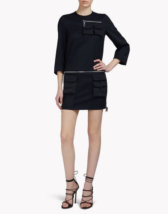 multi-pocket sleeve dress robes Femme Dsquared2