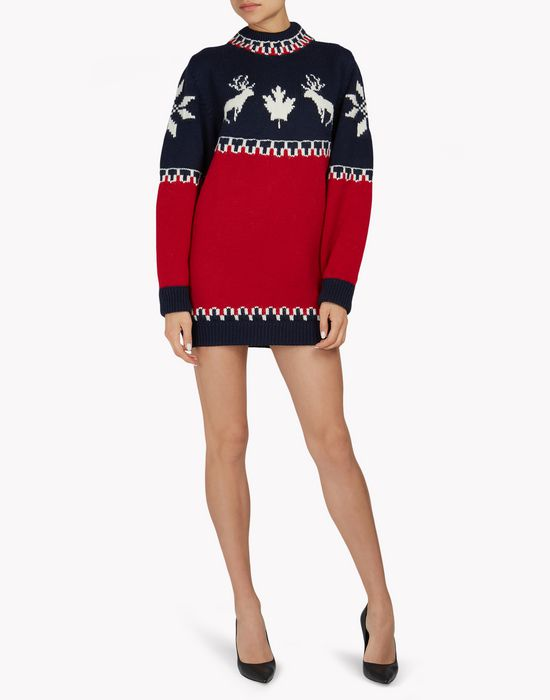 intarsia nordic deers mini dress kleider Damen Dsquared2