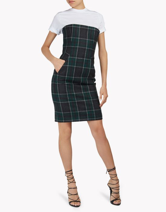 strapless flannel check dress kleider Damen Dsquared2