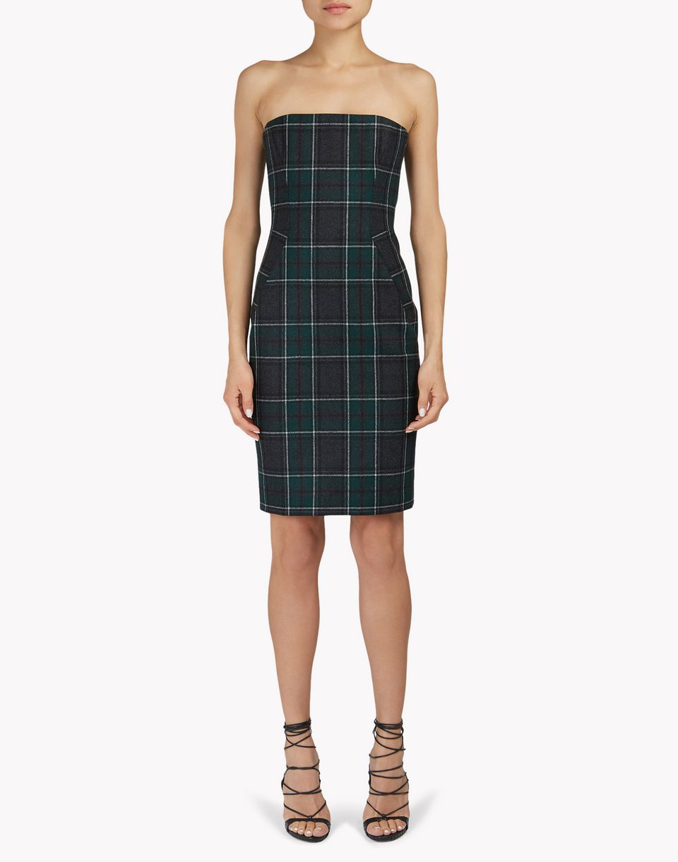 strapless flannel check dress dresses Woman Dsquared2
