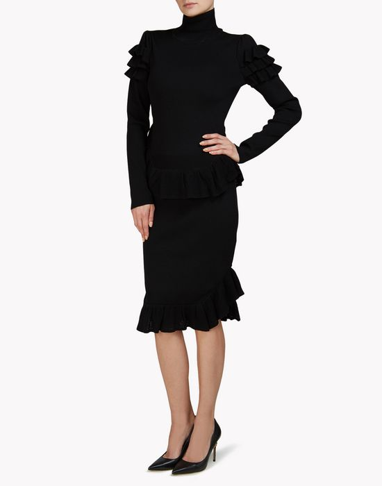 ruffled midi dress kleider Damen Dsquared2