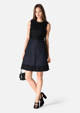 Armani Dresses Women dark blue stretch cotton denim dress