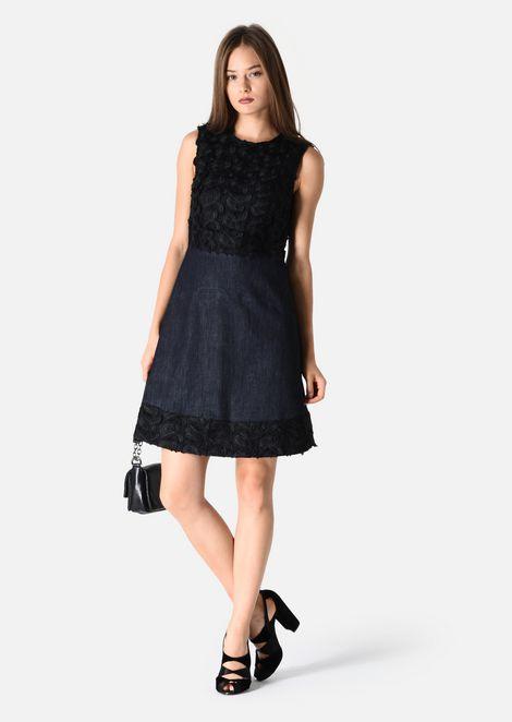 DARK BLUE STRETCH COTTON DENIM DRESS: Dresses Women by Armani - 1