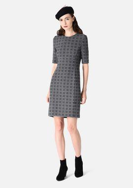 Armani Dresses Women bi-stretch a-line dress embossed with check motif