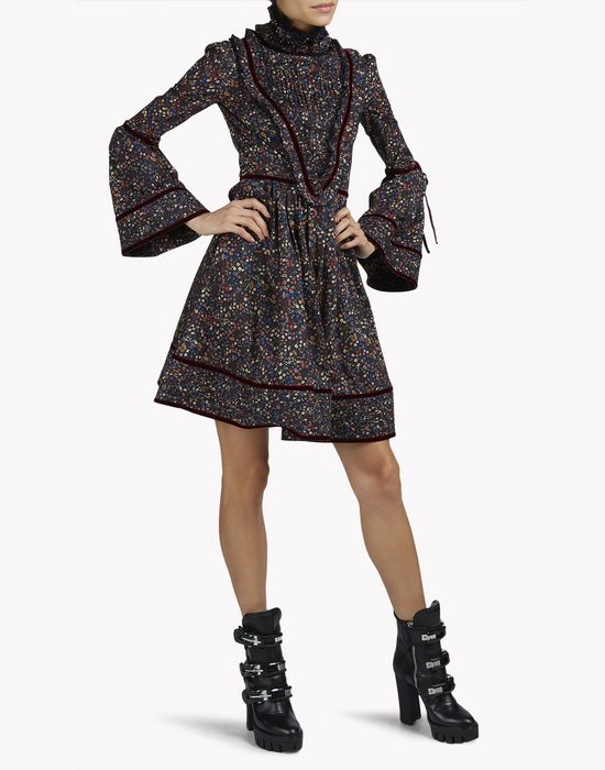 cotton floral pleated flouncy dress robes Femme Dsquared2