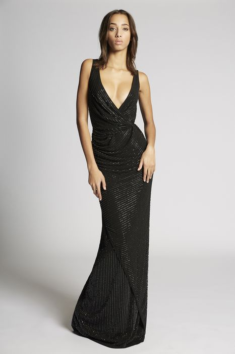 crepe beaded draped long dress robes Femme Dsquared2