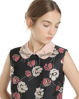 REDValentino Poppy Flower lurex Jacquard dress with glitter dragonflies collar