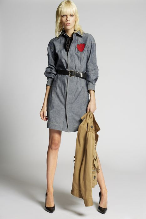 heart patch denim dress dresses Woman Dsquared2