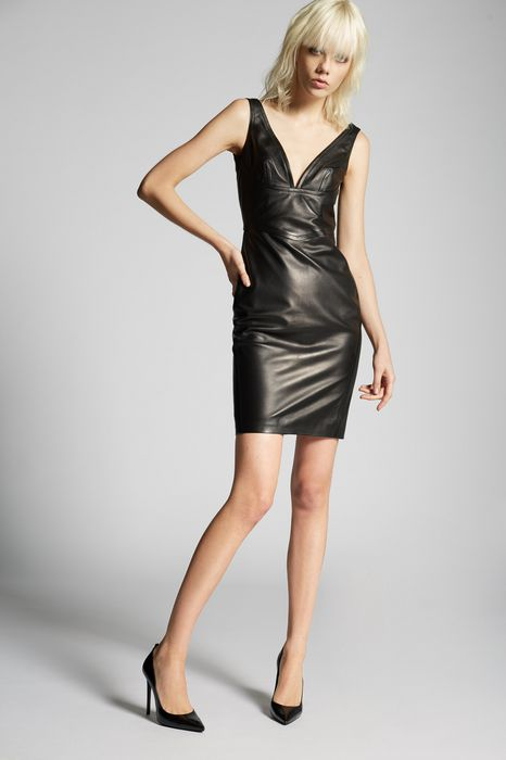 v  neck leather dress kleider Damen Dsquared2