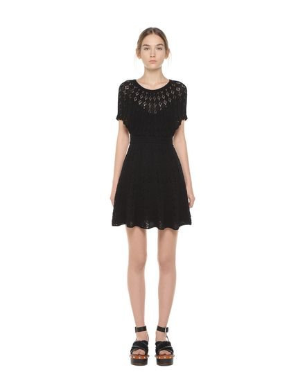 Openwork-stitched cotton knit dress