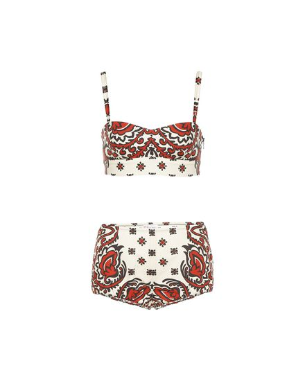 Bandana-print cotton poplin lingerie set