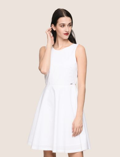 아르마니 익스체인지 Armani Exchange CUTOUT TIE-BACK FIT-AND-FLARE,WHITE