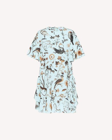 Flora-and-fauna print silk dress