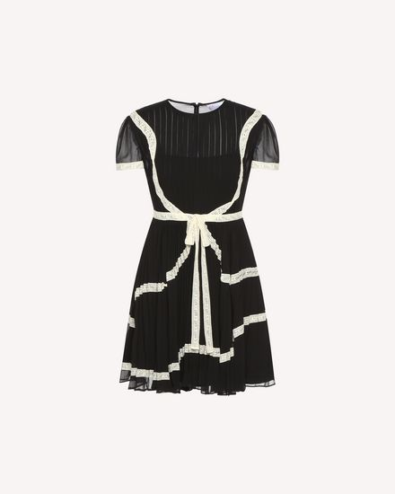 Lace ribbons embroidered Georgette dress