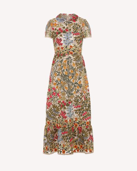 Floral vines macramé embroidered dress