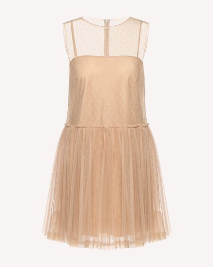 Tulle dress with pleated skirt