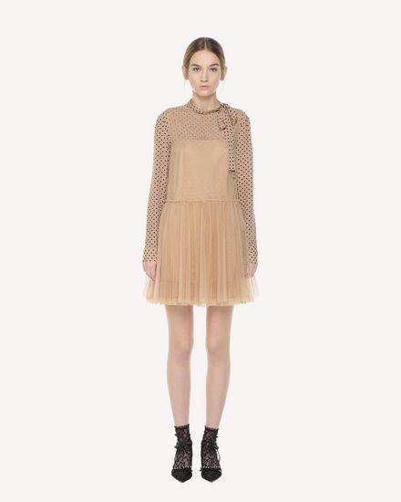 褶裥裙身薄纱连衣裙