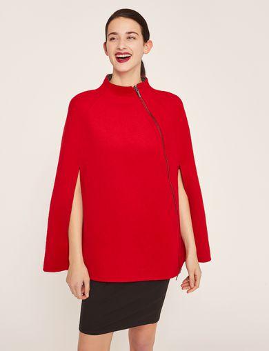 아르마니 익스체인지 리버시블 울 블렌드 케이프 자켓 레드 Armani Exchange REVERSIBLE DOUBLE-FACE WOOL BLEND CAPE,Red