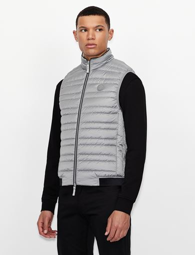 아르마니 익스체인지 푸퍼 패딩 Armani Exchange CLASSIC PACKABLE DOWN-FILL PUFFER VEST,Grey