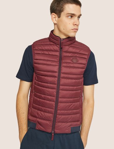 아르마니 익스체인지 Armani Exchange CLASSIC PACKABLE DOWN-FILL PUFFER VEST,Burgundy