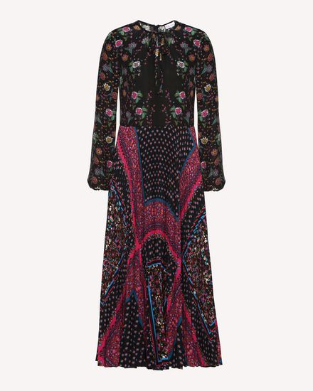 混合花卉印纹双绉连衣裙