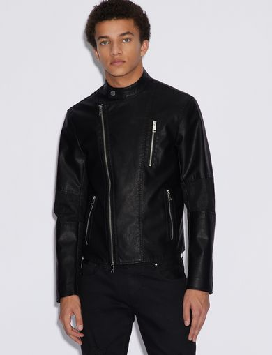 아르마니 익스체인지 Armani Exchange FAUX LEATHER BIKER JACKET,Black
