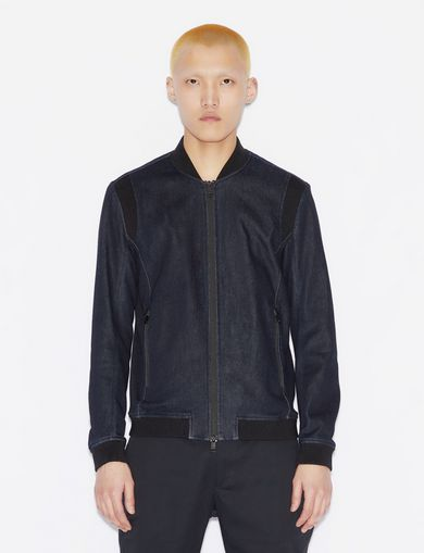아르마니 익스체인지 Armani Exchange BLOUSON IN STRETCH DENIM,Navy Blue
