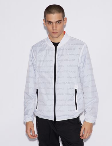 아르마니 익스체인지 Armani Exchange BOMBER IN LOGO FABRIC,White