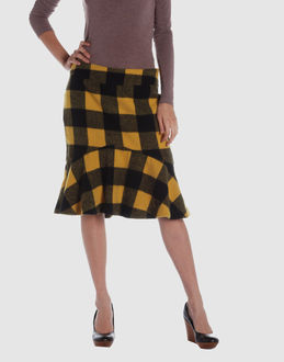 Cycle Women - Skirts - Knee length skirt Cycle on YOOX :  wool black knee length skirt yellow