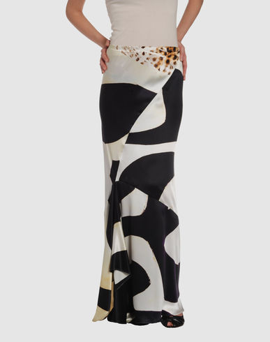 Long skirt ROBERTO CAVALLI on YOOX :  fashion silk motif long skirt