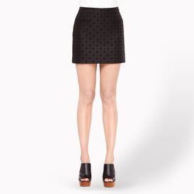 STELLA McCARTNEY, Mini, Black Bonded Brocade Tive Skirt