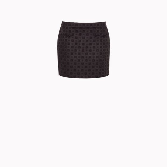 Stella McCartney, Black Bonded Brocade Tive Skirt