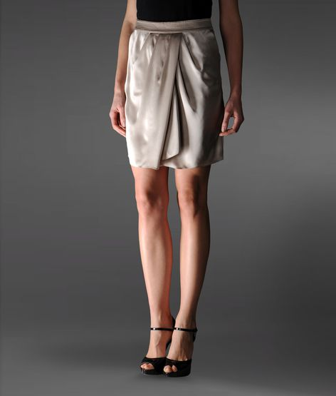 silk skirt with draping at the waist