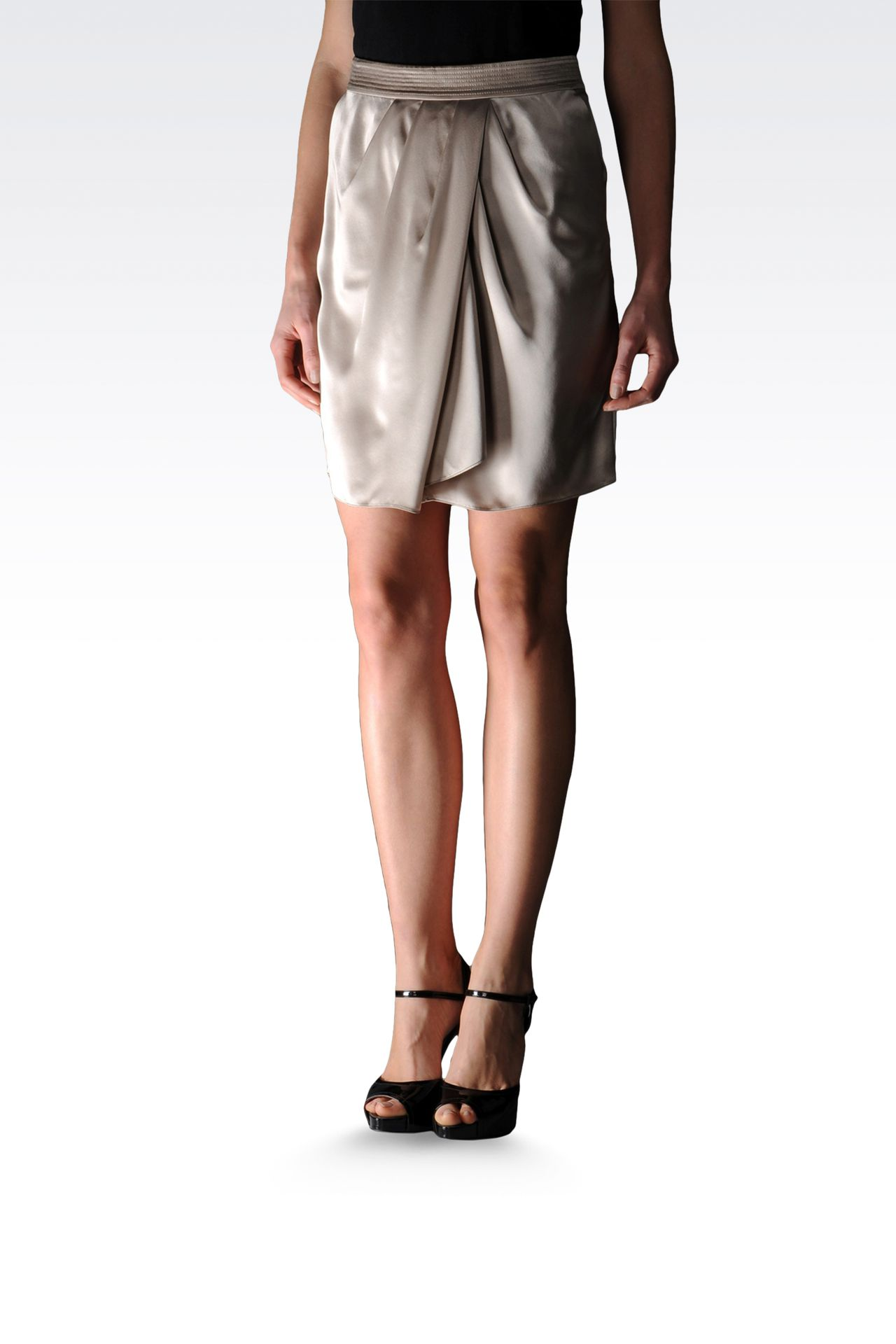 silk skirt with draping at the waist: Mini skirts Women by Armani - 0