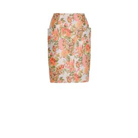 STELLA McCARTNEY, Longuette, Gonna Panton in Jacquard a Fiori Corallo