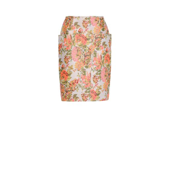 Stella McCartney, Gonna Panton in Jacquard a Fiori Corallo