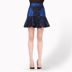 STELLA McCARTNEY, Mini, Cornflower Leaf Brocade Jacquard Patty Skirt