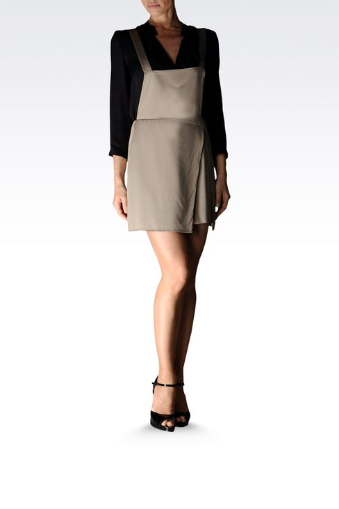 viscose skirt with dungarees style straps: Mini skirts Women by Armani - 3