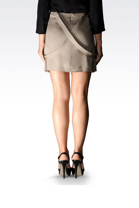viscose skirt with dungarees style straps: Mini skirts Women by Armani - 2