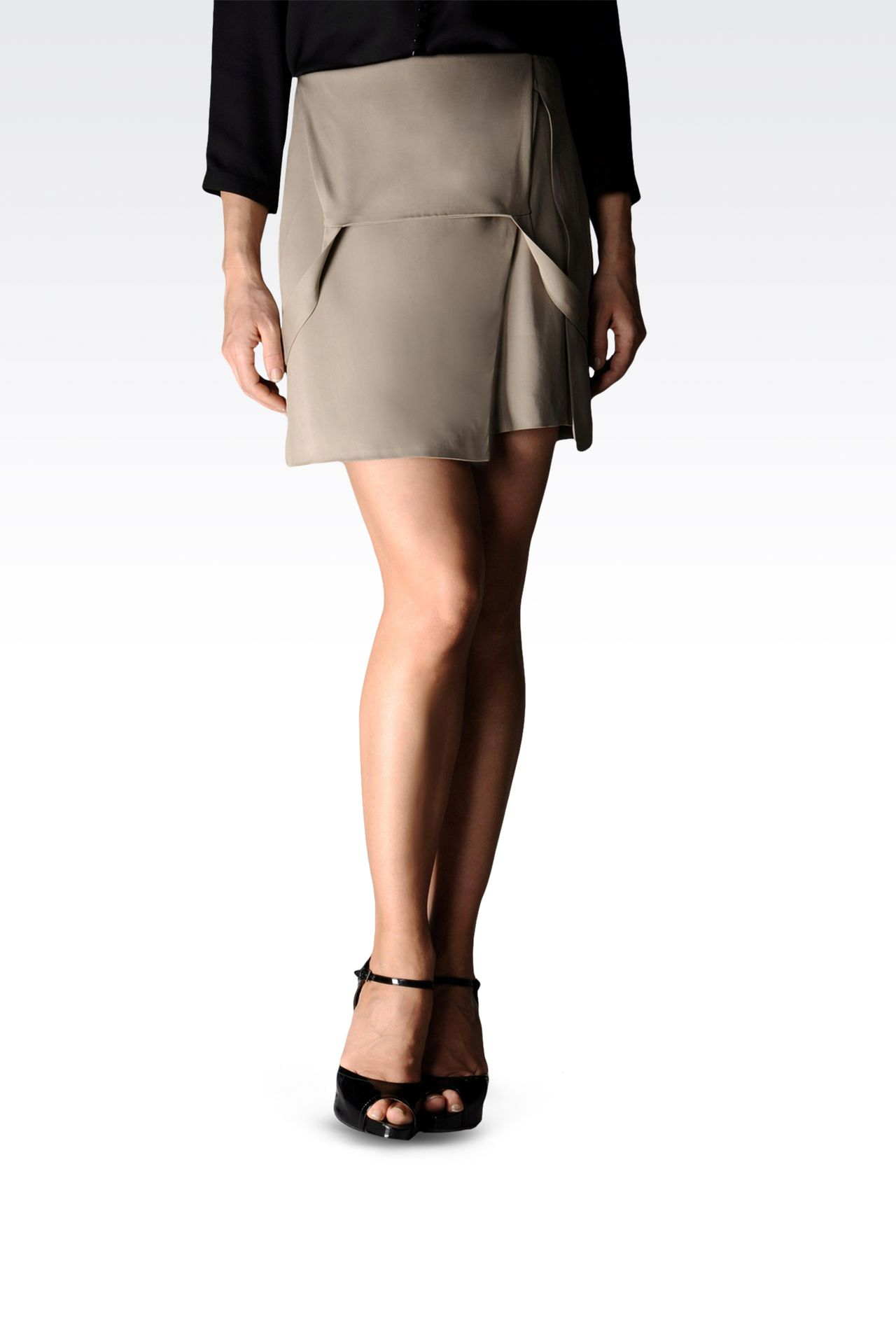 viscose skirt with dungarees style straps: Mini skirts Women by Armani - 0