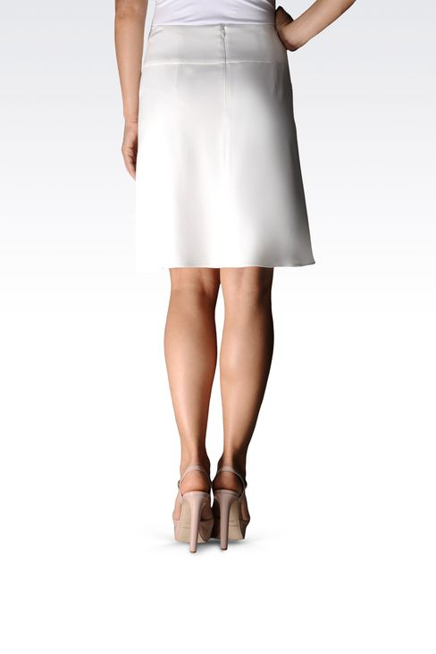 crêpe skirt with flounces and waistband: Mini skirts Women by Armani - 2